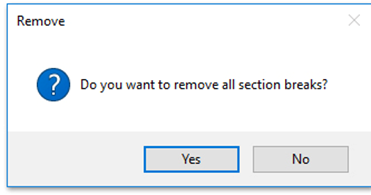 Remove Sections Breaks