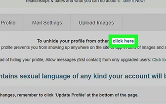 Click here to hide from others your profile.