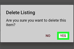 your listing will delete
